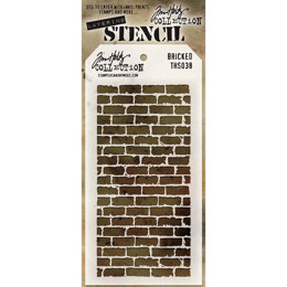 "Stampers Anonymous Tim Holtz Layered Stencil 4.125""X8.5"" - Bricked"