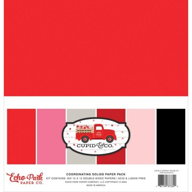 """Echo Park Paper Cupid & Co. Double-Sided Solid Cardstock 12""""X12"""" 6/Pkg"""