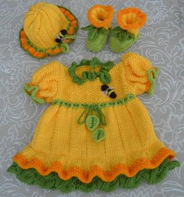 Daffodil Yellow Baby Dress, Booties & Hat