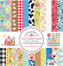 """Doodlebug Double-Sided Paper Pack 12""""X12"""" 12/Pkg - Down On The Farm"""