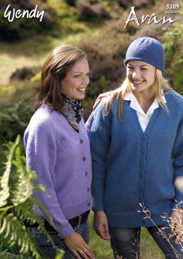 V-Neck Cardigan and Hat in Wendy Aran with Wool 400g - 5209