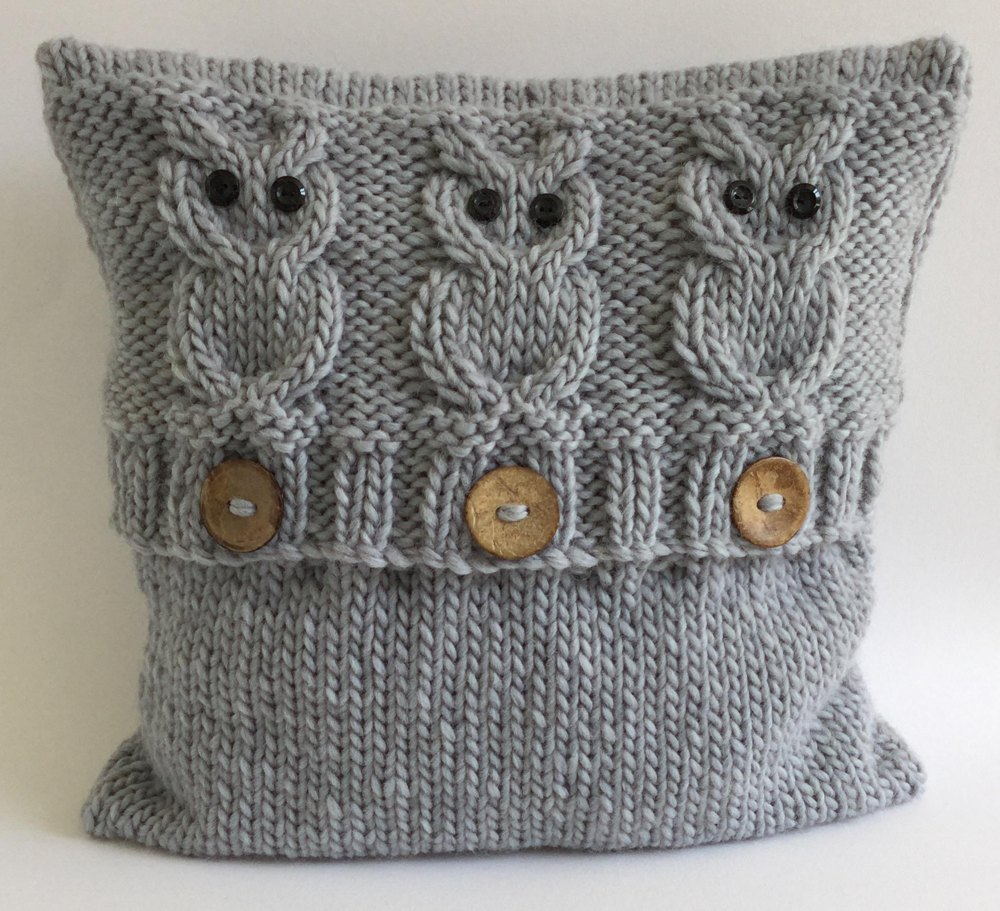 3 Wise Owls Cushion Cover Knitting Pattern By The Lonely Sea