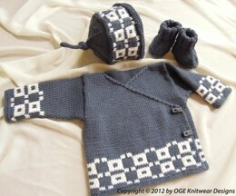 Baby Fair Isle cross over top, hat and boots - P017