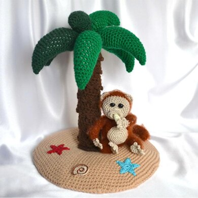 Palm tree and monkey ornament. Crochet amigurumi. Home decor