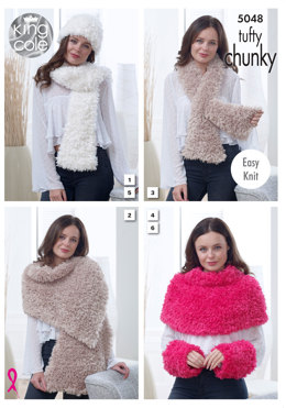 Scarves, Wrap, Should Cover, Hat & Wrist Warmers in King Cole Tufty Chunky - 5048 - Leaflet