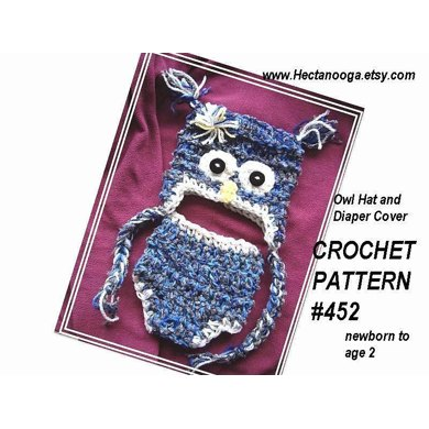 452 OWL HAT AND DIAPER COVER