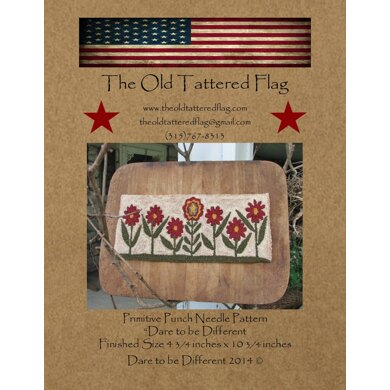 The Old Tattered Flag Dare To Be Different Punch Needle Pattern with Printed Weaver's Cloth - OTF96 - Leaflet
