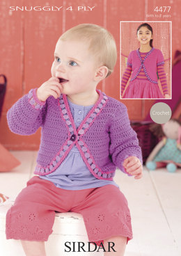 Crochet Bolero & One-Button Cardigan in Sirdar Snuggly 4 Ply - 4477