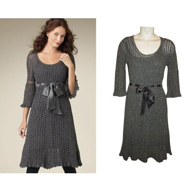 Crochet classy lacy midi dress with flare sleeves 3/4 and scalloped edge.
