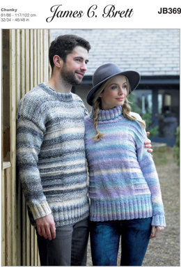 Ladies and Mens Sweaters in James C. Brett Marble Chunky - JB369 - Leaflet
