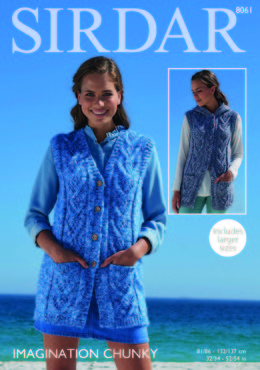 V Neck and Hooded Waistcoats in Sirdar Imagination Chunky - 8061