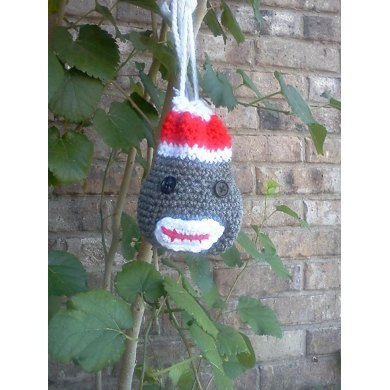 Sock Monkey Necklace Purse