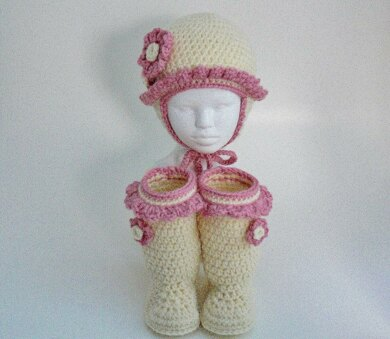 Baby Girl Frilly Ear Flap Hat and Boots 100G