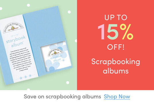 Up to 15 percent off scrapbooking albums