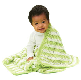 Textured Stripes Crochet Blanket in Caron Simply Baby - Downloadable PDF