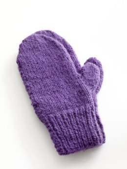 Easy-Knit Mittens in Lion Brand Jiffy - 80672AD