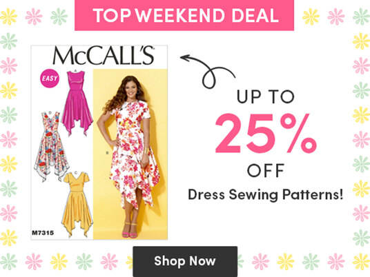 Up to 25 percent off dress sewing patterns!