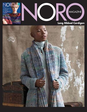 Long Ribbed Cardigan in Noro Kiso - 14395 - Downloadable PDF