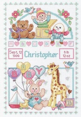 Dimensions For Baby Birth Record Counted Cross Stitch Kit - 10in x 14in (25cm x 36cm)