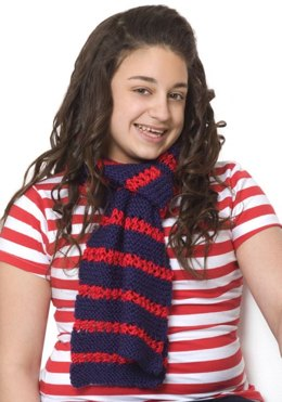 Heroic Stripes Knit Scarf in Red Heart Soft Solids - LW2607