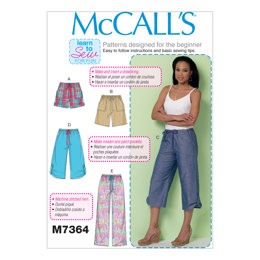 McCall's Misses' Drawstring Shorts and Pants with Pockets M7364 - Sewing Pattern