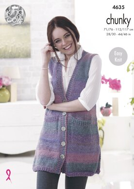 Lady's & Mans Waistcoats in King Cole Cotswold Chunky - 4635 - Downloadable PDF