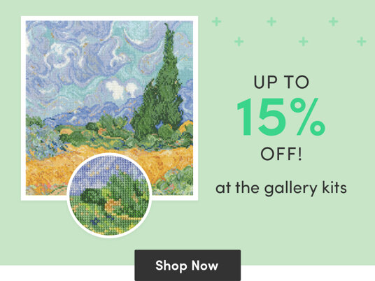 Up to 15 percent off at the Gallery kits!
