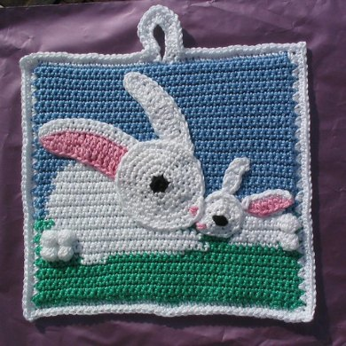 Mummy Bunny and baby potholder