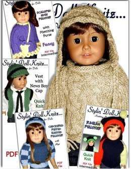 5 pdf knitting patterns. Fits 18 inch and American Girl Doll 02