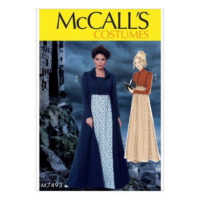 McCall's Cropped Jacket, Floor-Length Coat and A-Line, Square-Neck Dress M7493 - Sewing Pattern