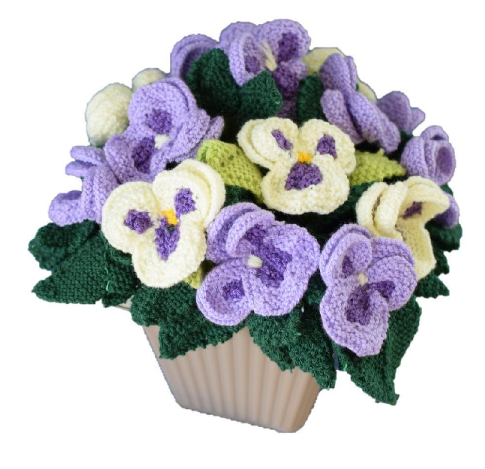 Knitting Flowers Design : The pansy pot knitting pattern by iknitdesigns