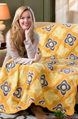 Rise & Shine Afghan/Throw in Red Heart With Love Solids - LW3718