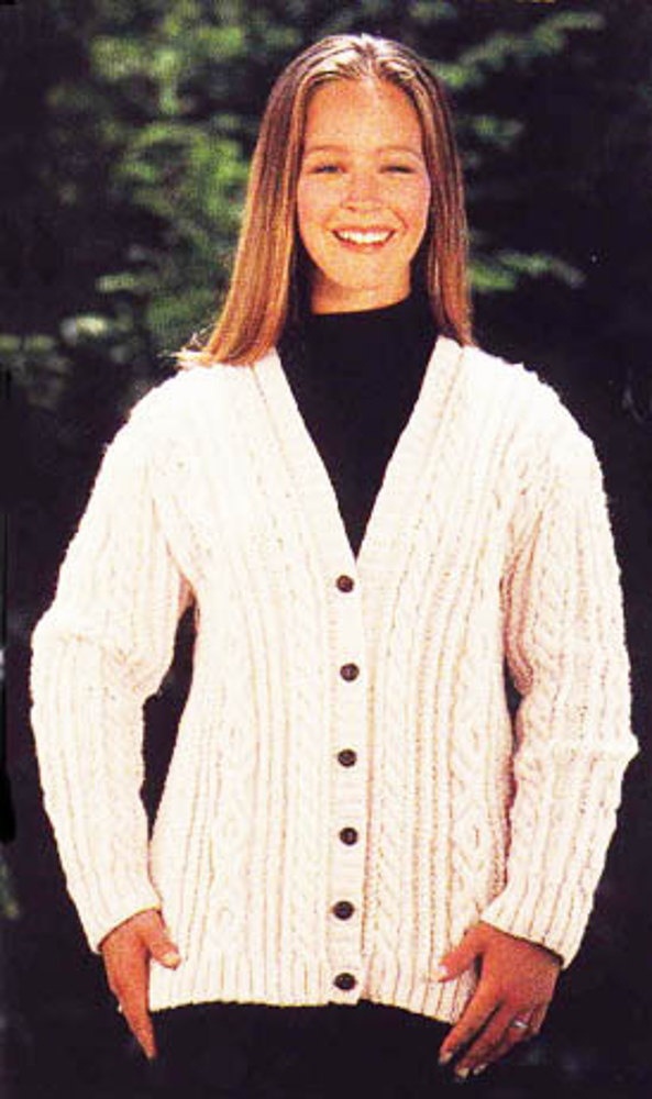 Free Cable Knit Afghan Pattern : Aran Cardigan Sweater in Lion Brand Fishermens Wool Knitting Patterns ...
