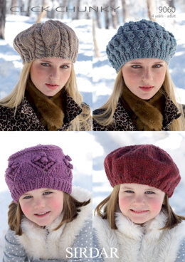 Beret & Hats in Sirdar Click Chunky - 9060