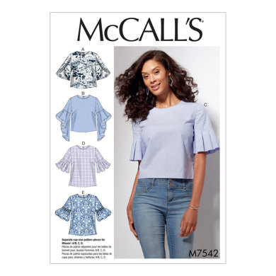 McCall's Misses' Tops with Trumpet, Tulip, Pleated or Bubble Sleeves M7542 - Sewing Pattern