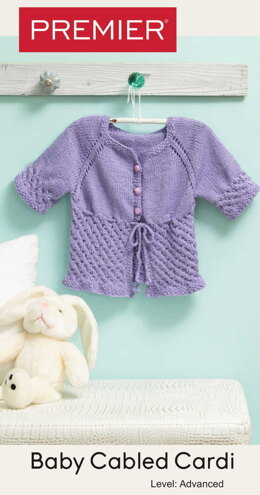 Baby Cabled Cardi in Premier Yarns Bamboo Joy - Downloadable PDF