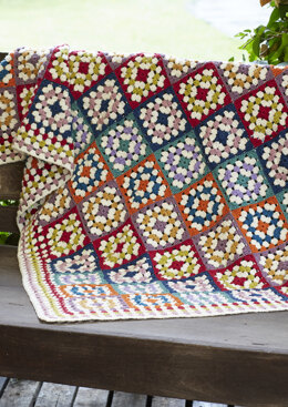 Granny Square Crochet Blanket in Rowan Pure Wool Worsted - Downloadable PDF