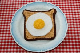 Crochet Pattern for Fried Egg on Toast / Breakfast - Fake Food