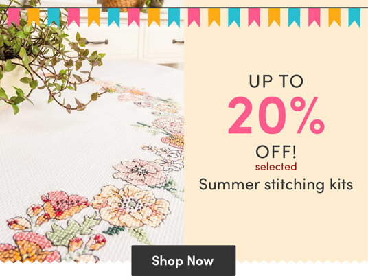 Up to 20 percent off selected summer stitching kits!