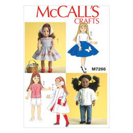 McCall's 18 Retro Doll Clothes M7266 - Sewing Pattern