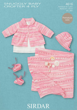 Coat, Hat, Bootees and Blanket in Sirdar Snuggly Baby Crofter 4ply - 4616