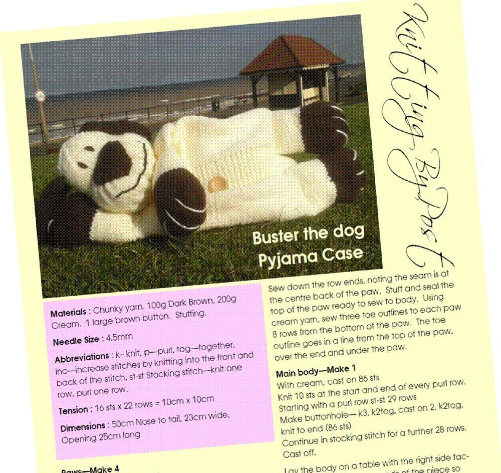 Knitting By Post Facebook : Buster the dog nightie case knitting pattern by