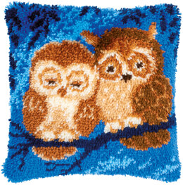 Vervaco Cuddling Owls Cushion Latch Hook Kit - 40cm x 40cm