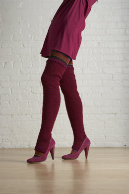 Striped Thigh Highs in Lion Brand Wool-Ease - 70669AD