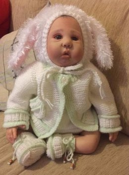 Bunny Outfit Cardi, Bonnet, Pants and Booties 0-6mths