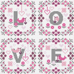 Riverdrift House Love Squares Cross Stitch Kit - 21cm x 21cm