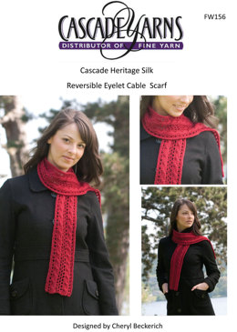 Reversible Eyelet Cable Scarf in Cascade Heritage Silk - FW156