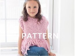 Mini Tank Top with Fringe in Loopy Mango Big Cotton - Downloadable PDF