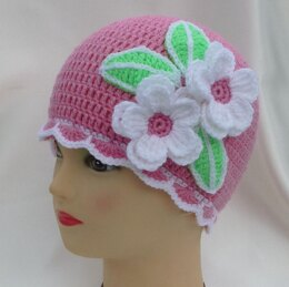Crochet Baby Girl Beanie Hat with flowers Apple Blossoms