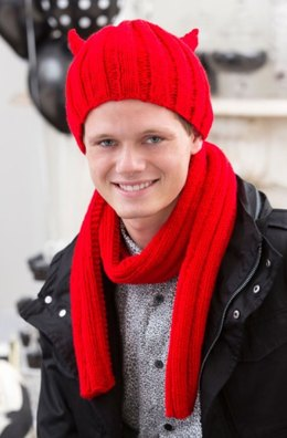 Devilish Hat and Scarf in Red Heart Super Saver Economy Solids - LW4458